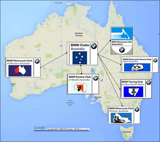 BMW Motorcycle Clubs of Australia map